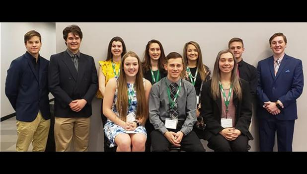 Team 19: In the first row are, from left, Amanda Smith, Zachary O'Neal and Katie Charles. In the second row are Gabe Thompson, Zach Griffin, Maddie Bundren, Elle Mason, Olivia Schroeder, Conner Jerolds and Jackson Laster. Photo provided.