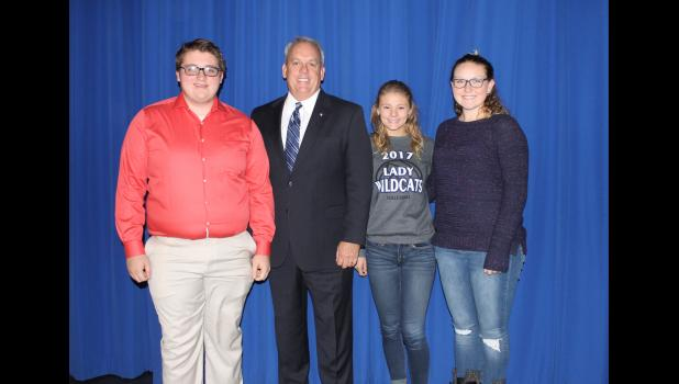 State Sen. Dale Fowler, R-Harrisburg, has established a youth advisory council. Fowler is with Anna-Jonesboro Community High School students who were selected as members of the council, including Trenton Newberry, Jasmin Foster and Connar Hadley. Photo by Lindsey Rae Vaughn.