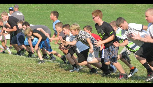 Youth football league campers were on the move after the whistle sounded.
