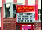 Student registration dates are posted on a sign in front of the Anna Junior High/Davie School in Anna.