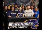 Anna-Jonesboro Community High School student athlete Jacy Hargrave has signed with McKendree University in Lebanon, where she will continue her cheerleading career. Those present for the signing were, in the first row, from left, Angie Hargrave, Jacy, Tim Hargrave. In the second row are Bianca Bergman, Chase Hargrave, Miranda Hargrave, Grant Falter and Tarra Morris. Photo provided.