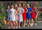 The 2017 Cobden Peach Festival queen candidates were joined by the reigning queen for a group photo. From left are 2017 candidates Alejandra Lopez, Jericha Carter, Grace Pitts, Olivia Gordon, Janna Harner, Brooklyn Miller, Kaitlin McWhorter, and reigning queen Karlyn Furry. The pageant is set Friday and Saturday nights at the festival, with a coronation on Saturday. Photo by Tiffiny Dillow for The Gazette-Democrat.